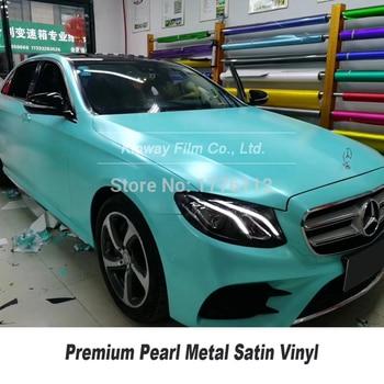 Highest quality light green matte metallic vinyl wrap film  pearl metal Vinyl wrap foil low initial tack adhesive