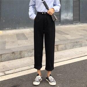Image 4 - ג ינס נשים ארוך מכנסיים ישר קוריאני סגנון גבוה מותן כיסים נשי מוצק טרנדי Harajuku נשים כל התאמה רך Loose שיק