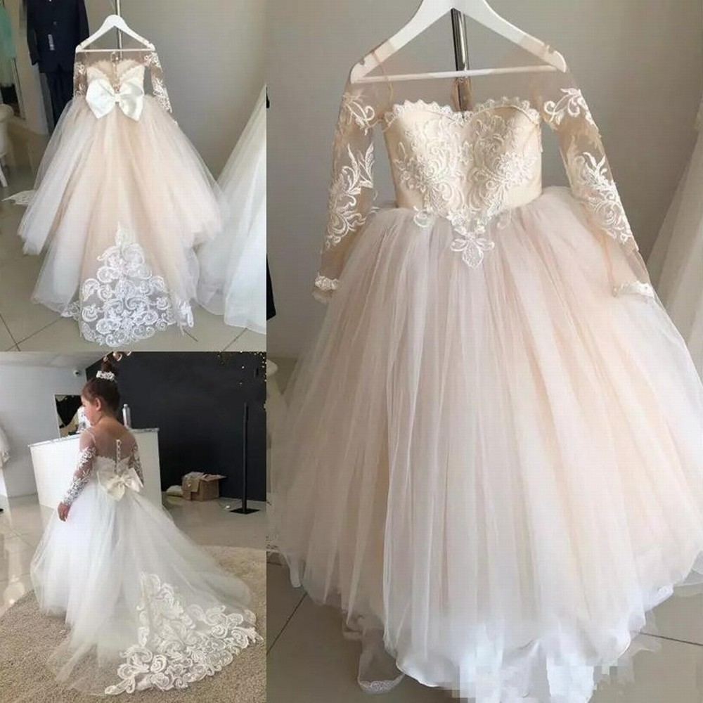 Long Sleeve Flower Girl Dress with Train Wedding First Communion Princess Gown