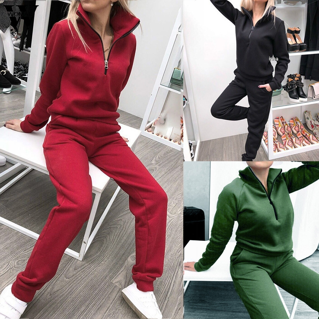 Womail Tracksuit Women Winter Sweatsuit Sport Set Long Sleeve Sweatshirt+ Long Pants 2 Pieces Set Solid Outfit Casual Wear 828