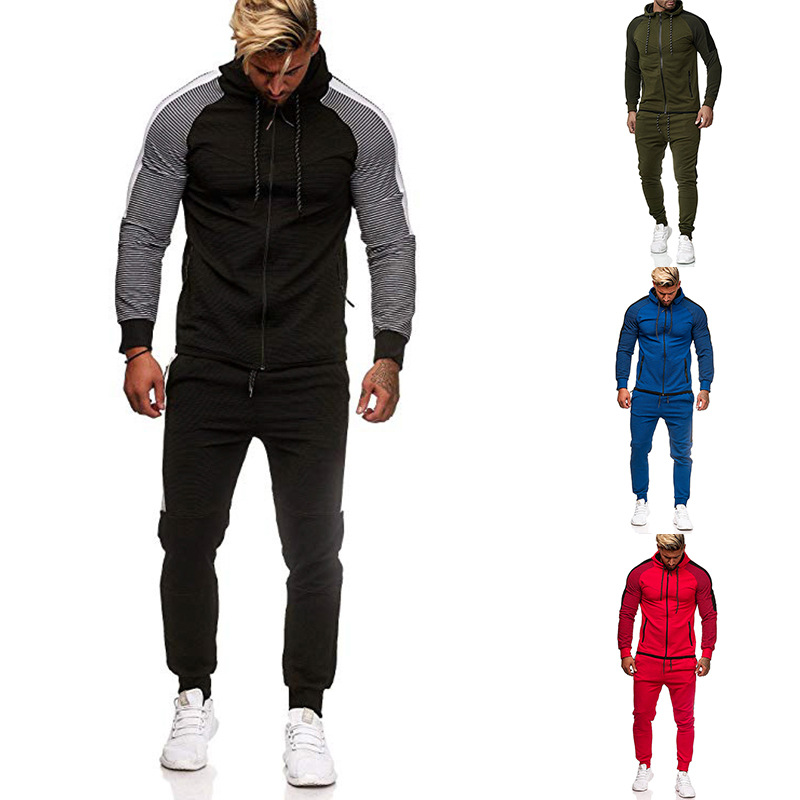 2019 Ouma Autumn And Winter New Style Stripes Joint Hoodie Leisure Suit Hoodie Running Fitness Sports Set