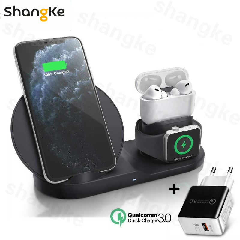 3 in 1 Fast Wireless Charger Dock Station Fast Charging For iPhone <font><b>11</b></font> <font><b>11</b></font> Pro XR XS Max 8 for Apple Watch 2 3 4 5 For AirPods Pro image