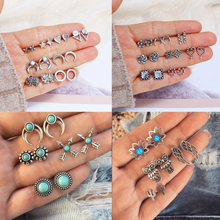 Bohemian Geometric Stud Earrings Set for Women Girls Fashion Crystal Stone Flower Jewelry Wholesale