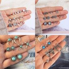 Bohemian Geometric Stud Earrings Set for Women Girls Fashion Crystal Stone Flower Jewelry Wholesale
