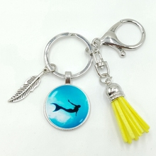 2019 New Hot Retro Wind Marine Mermaid Pattern Series Glass Cabochon Tassel Alloy Keychain Jewelry Gift