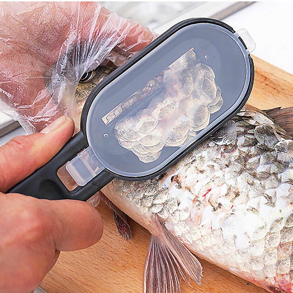 Saingace Pesce Bilancia Raschietto Spazzola Grattugie con coperchio Nuovo Pratico Pesce Bilancia Rimozione Bilancia r Raschietto Pulitore Attrezzo Della Cucina Peeler