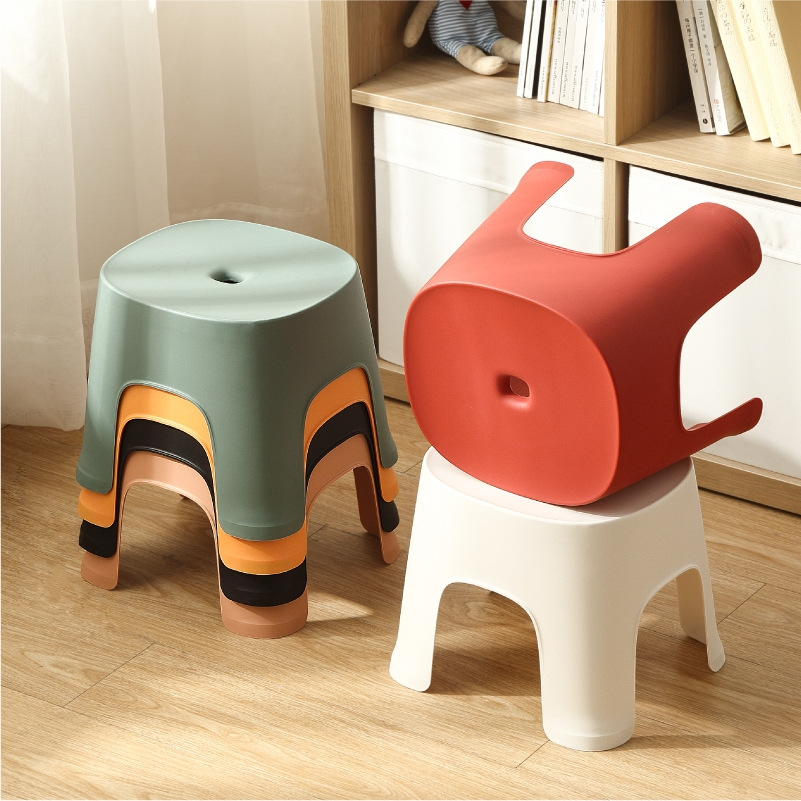 Household Bathroom Plastic Children\'s Stool Thickened Anti-slip Shoe Changing Stool Kid\'s Stepping Bench Stable Bedside Stools