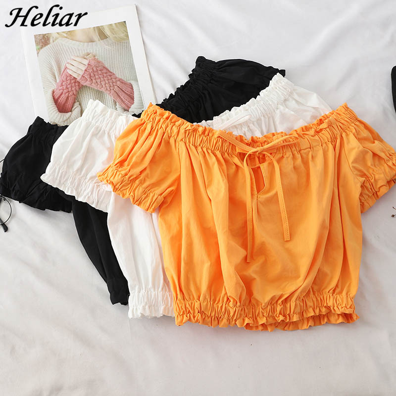 Heliar Pleated Hem Slash Neck Drawstring Tops Short Puff Cuff Cute Tees Students Summer Blouse Womens Tops And Blouses
