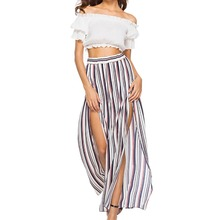 Loose Flare Pants Women's Chiffon Side Slit Striped Elastic Wide Leg Pants Fashion Novel Commuter Style
