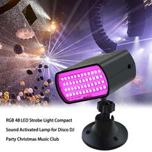RGB 48 LED Strobe Light Disco DJ Party Stage Light Compact Sound Activated Lamp Christmas Music Club Flash Stage Lighting Effect цена и фото
