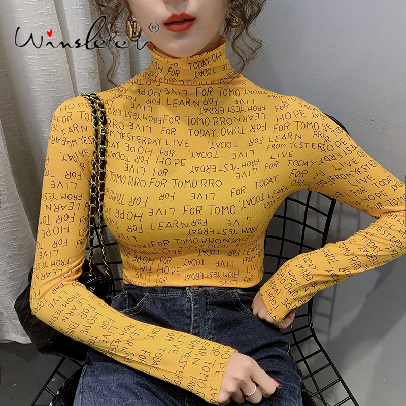 Letters Print Vintage T-shirt Women Spring New Turtleneck Slim Long Sleeve Casual Tops Tee Bottoming Shirt футболка T01405B