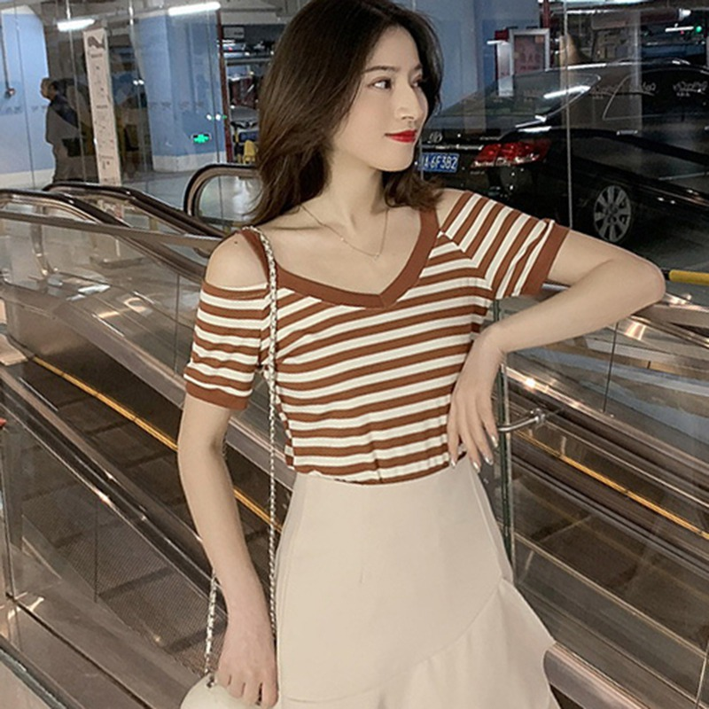 2019 Summer Casual Striped Fashion V-neck Off-Shoulder T-Shirt Short-Sleeved Women Tops Clothes Sexy