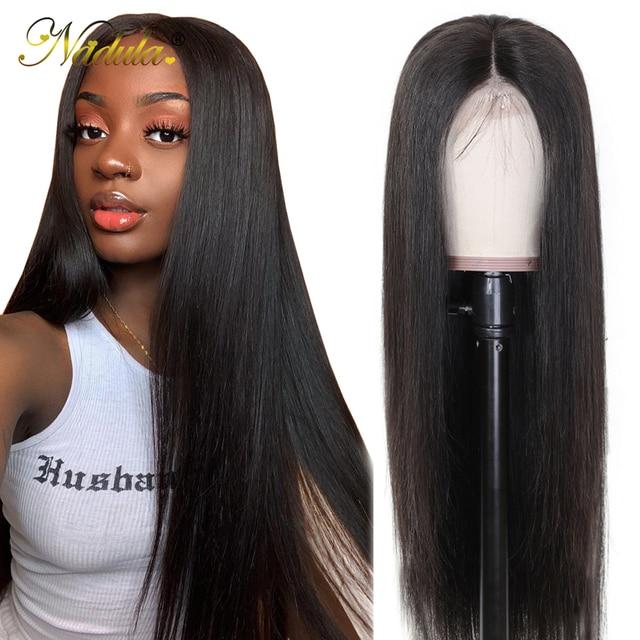 Nadula Hair 13x 4/4x4 koronkowe peruki z ludzkich włosów wstępnie oskubane bielone węzły peruka prosto koronkowa peruka na przód 360 koronkowa peruka z przodu