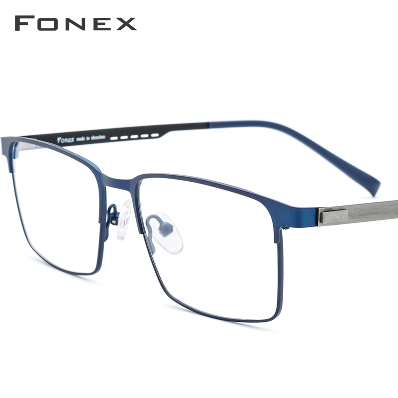 FONEX Alloy Prescription Glasses Full Rim Square Myopia Eyeglasses Frame Men Optical Screwless Eyewear Eye Glasses For Men 8841