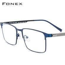 FONEX alliage Prescription lunettes pleine jante carré myopie lunettes cadre hommes optique sans vis lunettes lunettes pour hommes 8841
