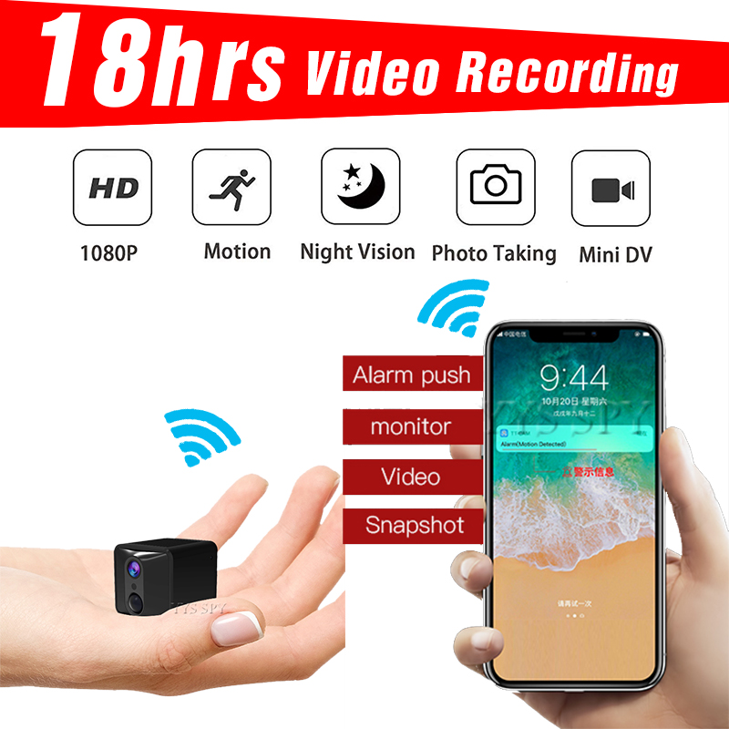 18 Hours Video Wifi <font><b>Mini</b></font> <font><b>Camera</b></font> Night Vision Motion Alarm Secret Micro Cam Remote Camcorder Camara Espia Support Hidden TF Card image