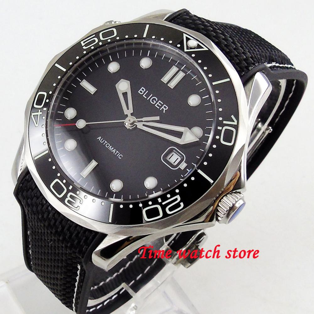 Luxury 41mm Bliger men's watch black dial saphire glass Ceramic Bezel Automatic movement wrist watch men 223