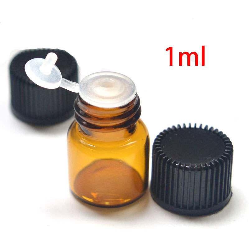 Hot Sell 10pcs 1ml Amber Glass Vials Small Mini Essential Oil Bottle With Orifice Reducer And Cap Small Bottles