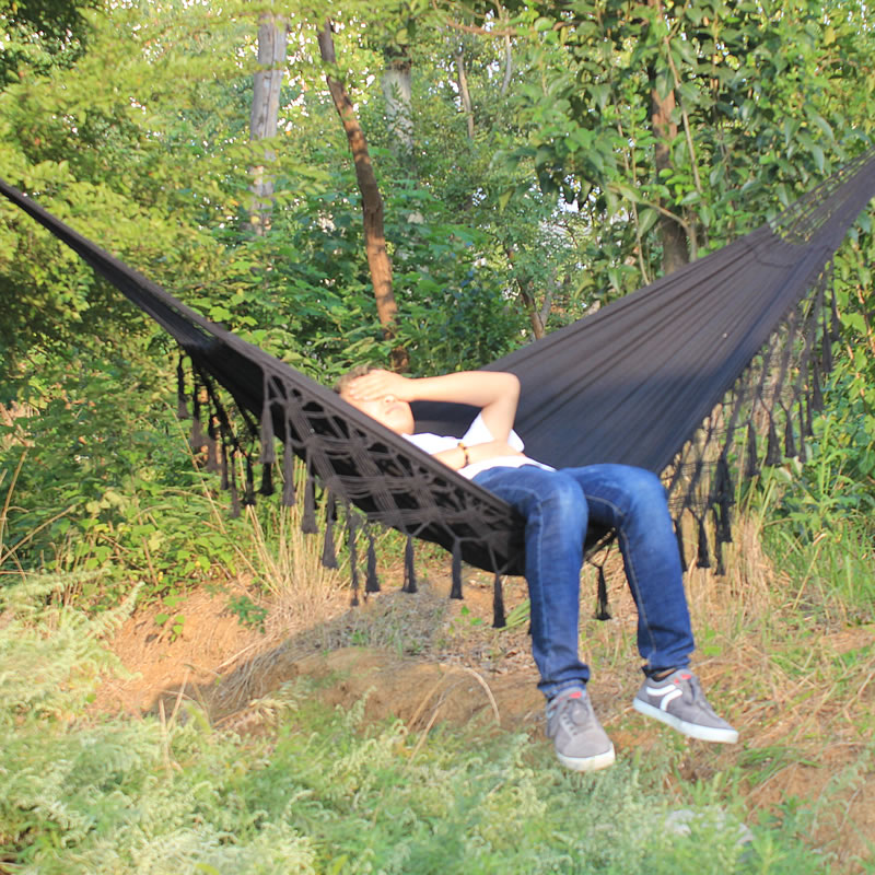 Boho Large Brazilian Fringed Macramé Double Deluxe Hammock Swing Bed With Carry Bag For Patio, Porch, Bedroom, Yard, Beach