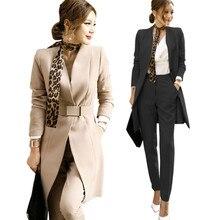 Осенний Деловой брючный костюм, Женский комплект с поясом, средний вырез, блейзеры, костюм+ длинные штаны, Женский комплект из 2 предметов