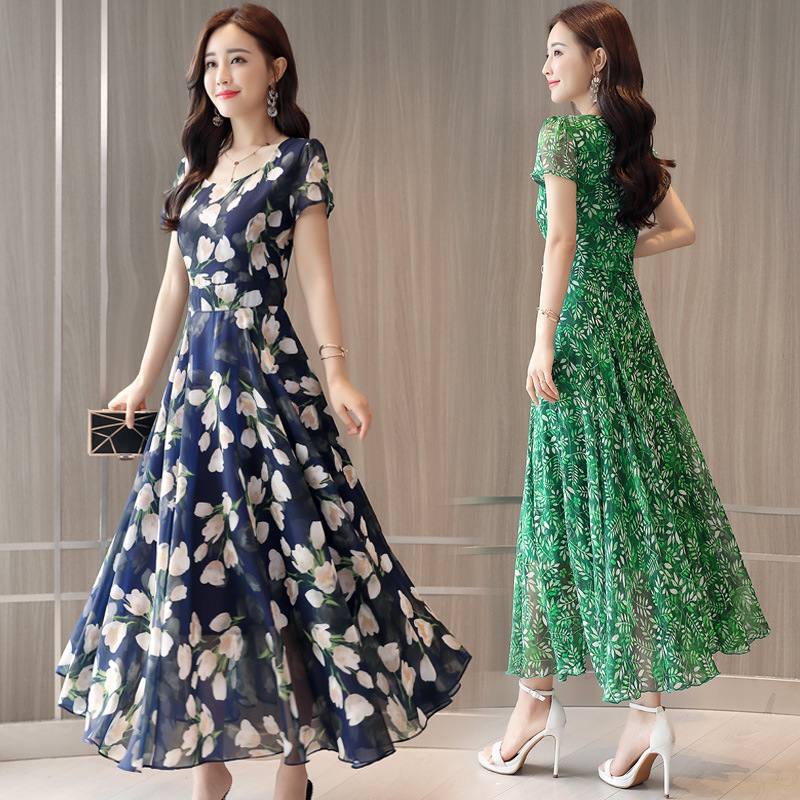 Gentle Slim Fit Women Dress Summer 2019 New Style Large Size Elegant Slimming Waist Hugging Floral-Print Chiffon Full Body Dress