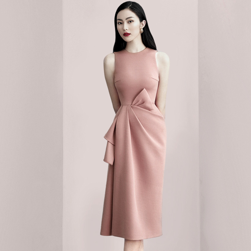 Dusty Pink Semi Formal Dress O Neck Sleeveless Bow Embellished Sheath Column Party Gown