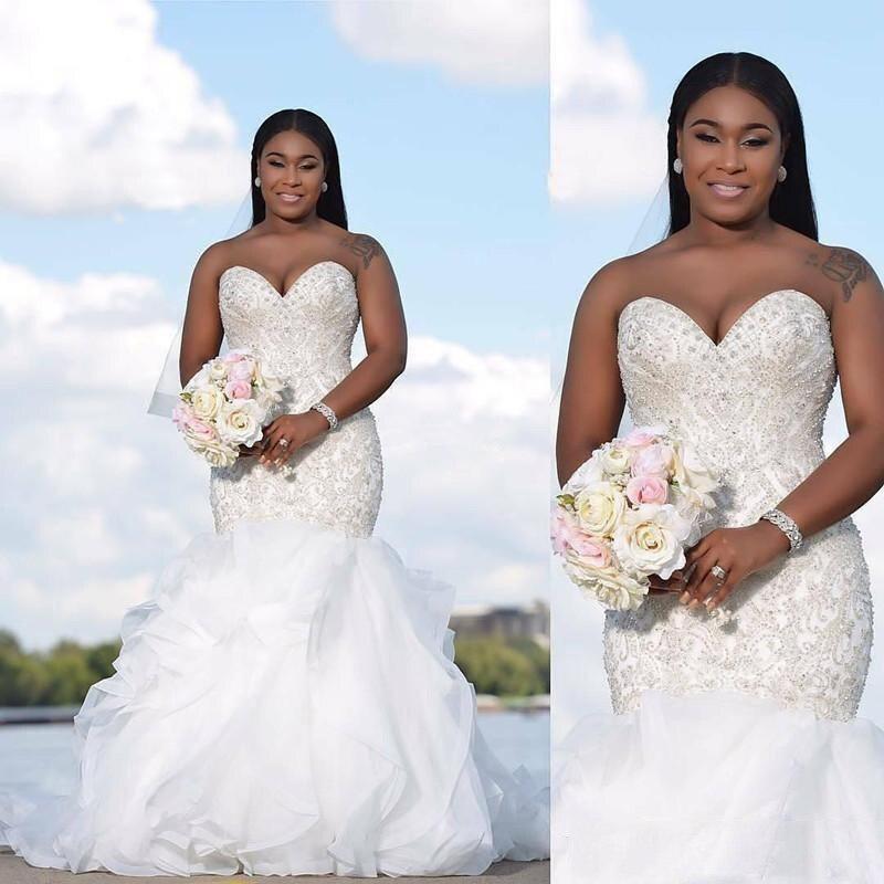 African Beaded Ruched Ruffles Pleat Mermaid Wedding Dresses Simple Sweetheart Neck Sleeveless Chiffon Bridal Gown Vestido De Noi