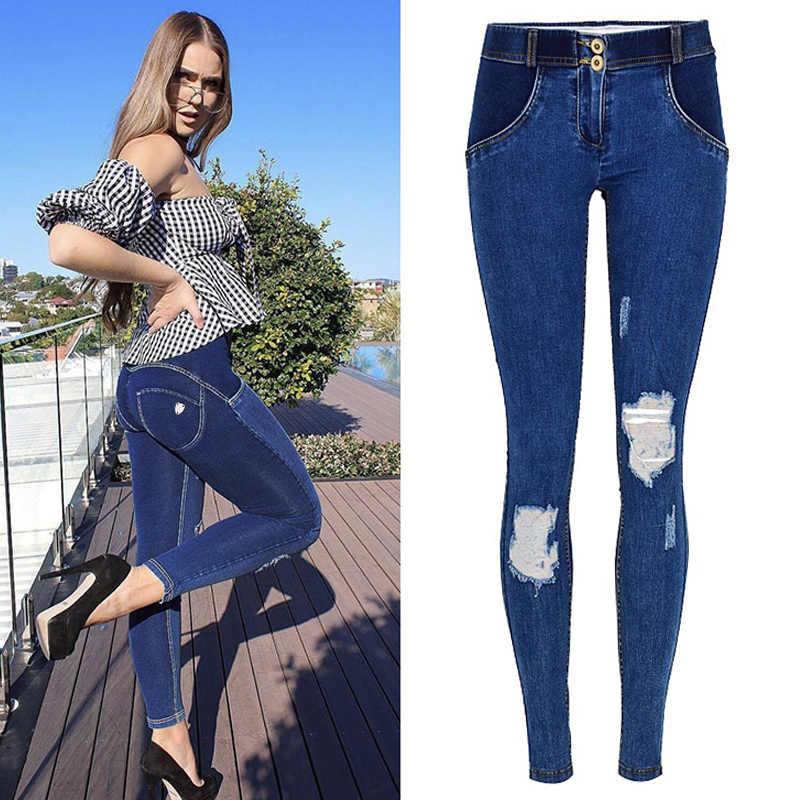 Women/'s Ripped Distressed Skinny High Waist Denim Pants Jeans Trousers Leggings