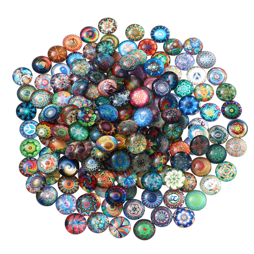 100pcs 12mm Mixed Round Mosaic Tiles for Crafts Glass Mosaic Supplies for Jewelry Making