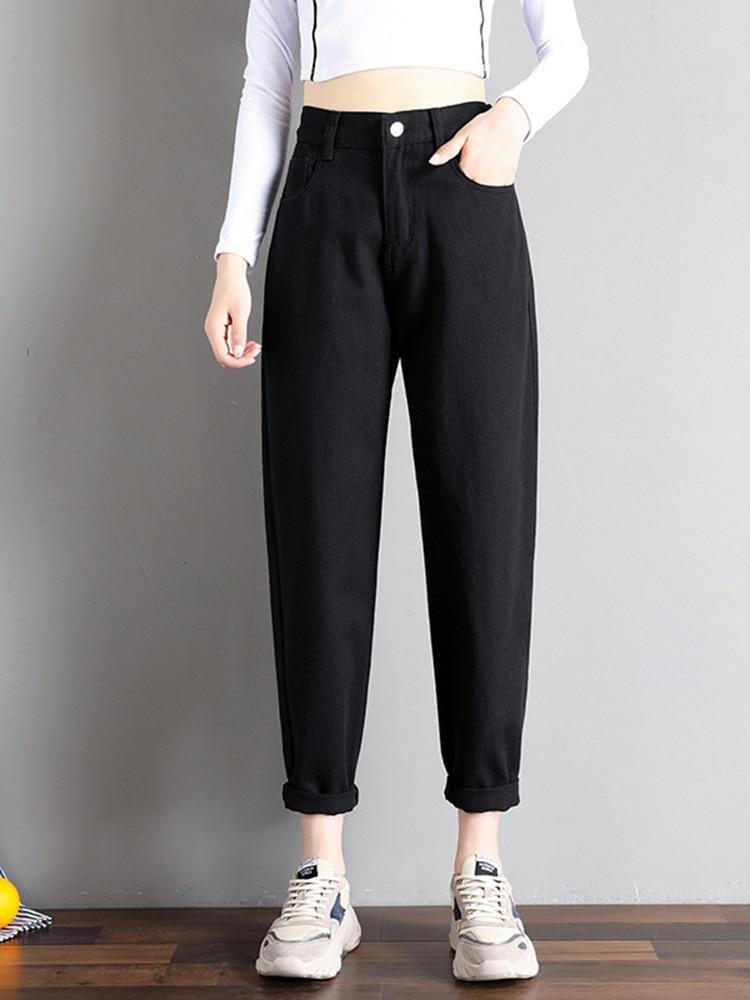 Mom Jeans Denim Pants Elastic-Waist Street-Style Plus-Size Korean-Fashion High Black