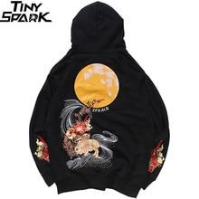 2019 Men Hip Hop Hoodie Sweatshirt Embroidered Floral Full Moon Rabbit Harajuku Streetwear Hoodie Pullover Cotton Autumn Hipster
