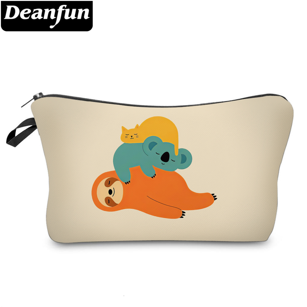 Deanfun Three Cute Sloths Printing Small Makeup Bag Women Toiletry Bags Waterproof Cosmetic Bag Gift For Girls 51810