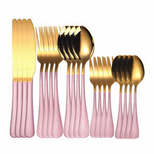 Kitchen Tableware Cutlery Set Stainless Steel Gold Pink Cutlery Set Fork Knive Spoon Gold Dinnerware Set Utensils Reusable(China)