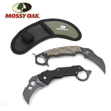 Faca tática para acampamento mossy, conjunto de 2 peças de faca karambit, equipamento de emergência, de bolso, lâmina fixa, ferramenta para acampamento ao ar livre