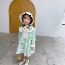 Spring New Arrival Korean style cotton long sleeve flowers pattern princess sweet dress with big lace collar for cute baby girls