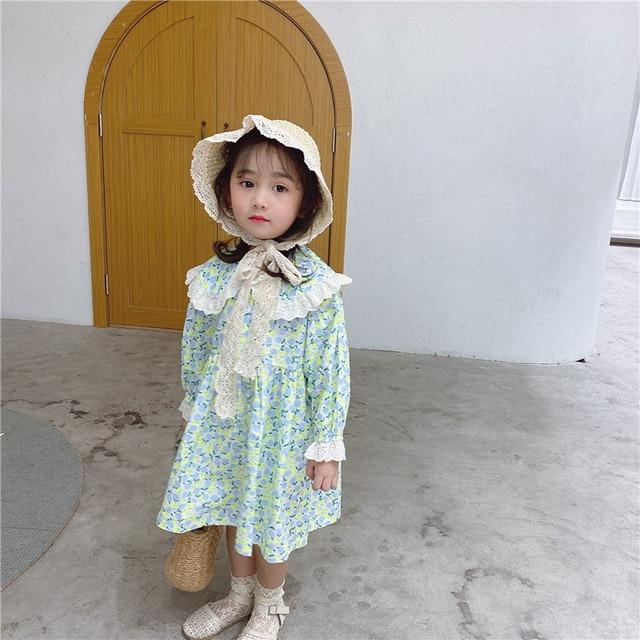 Vestido de princesa con cuello de encaje grande para niña, vestido de princesa con estampado de flores de manga larga de algodón de estilo coreano, novedad de primavera