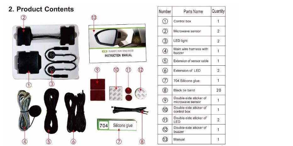Sistema Universal de monitoreo de puntos ciegos para coche BSM microondas 2 sensor de radar 2 indicador LED 1 Detección de alarma cambio de carril Assit - 5