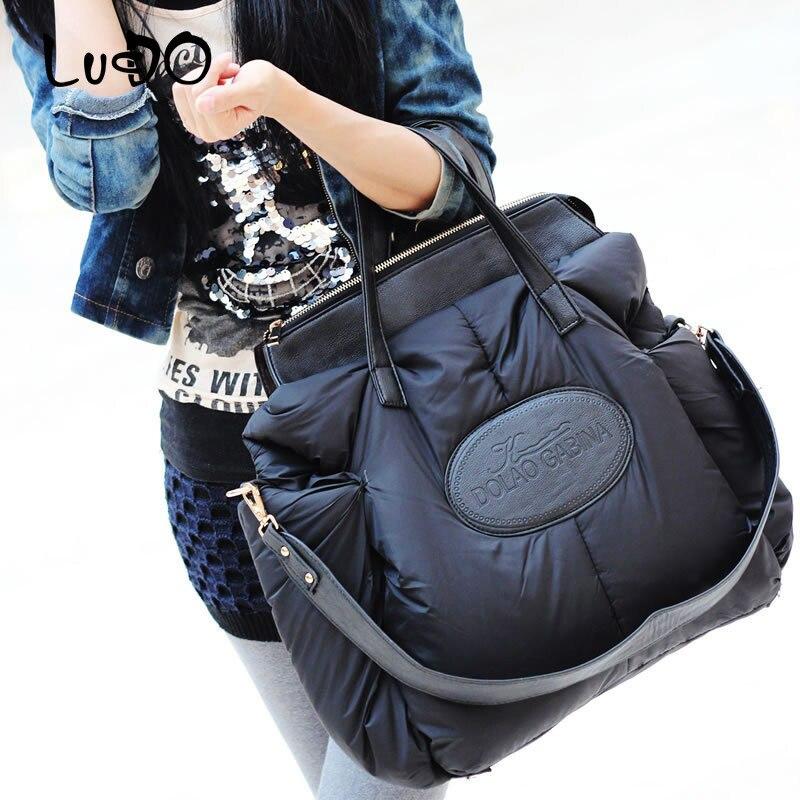 2019 New Winter Women Handbags Ladies Warm Tote Bag Fashion Space Cotton Material Large Package Down Jacket Bag Sac A Main Bolsa