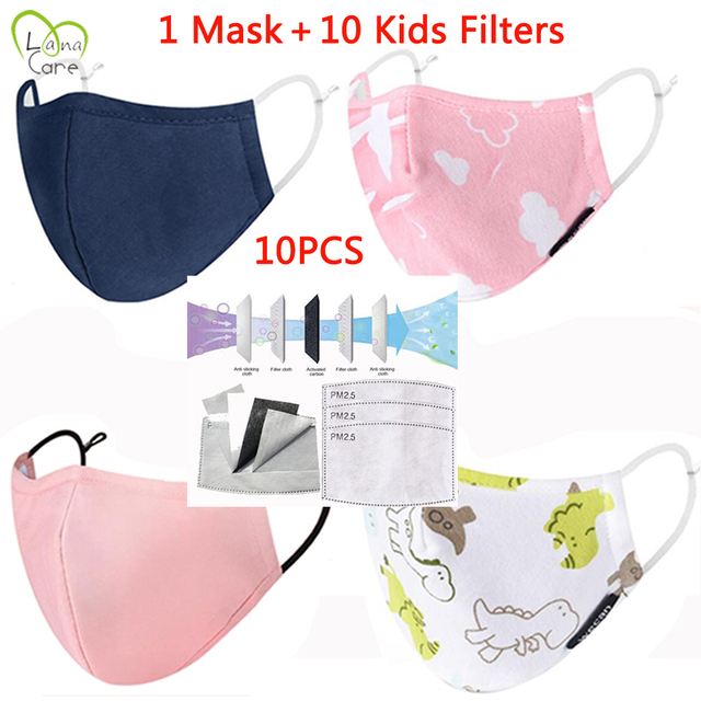 For 3-12 Years Children Mask Face + Kid Mask Filters Reusable Cotton Face Mask Kids Mask