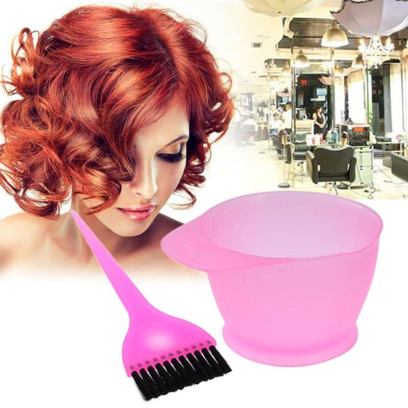2pcs/Set Plastic Hair Dye Colouring Brush Comb Bowl Hairdressing Styling Tools Hair Dyeing Kit Hair Color Mixing Bowls Hairdress