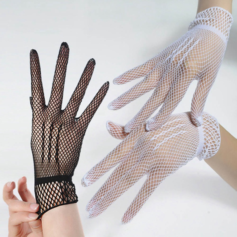 1 Pair Hot Sale Fishnet Mesh Glove Fashion Women Lady Lace Elegant Lady Style Gloves Black And White