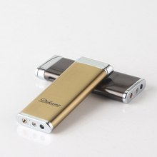 Creative Flat Portable Ultra-thin Plating Metal Gas Lighter Butane Inflatable Windproof Cigarette