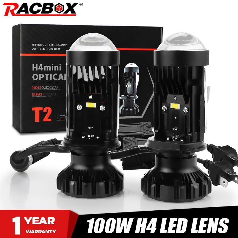 H4 светодиодный мини объектив T2 H4 светодиодный проектор линзы 100W 6000K белый светильник автомобилей головной светильник лампы проектор фара а...
