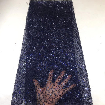 Madison Latest NavyBlue Net Lace Fabric Sequence Lace Fabric High Quality African Mesh Lace Fabric with Sequins Nigerian Lace