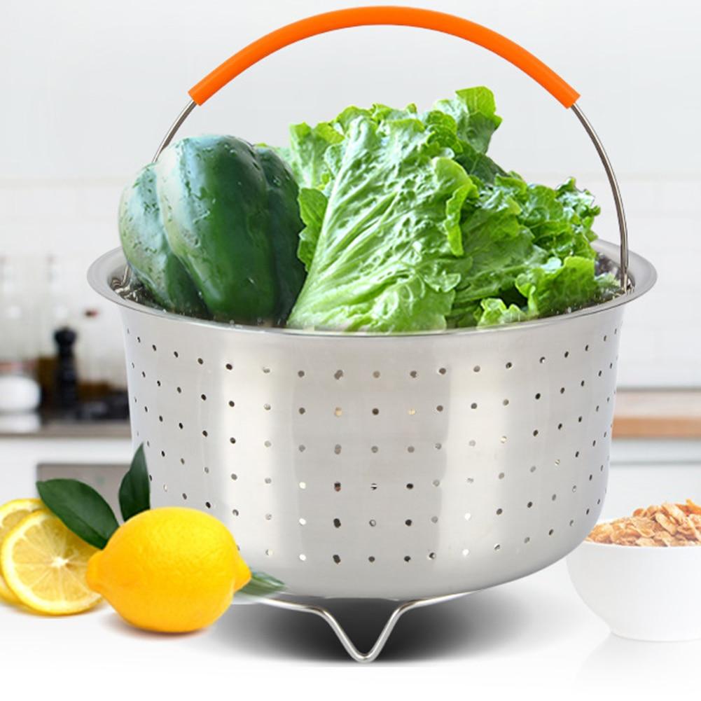 Fruit Vegetable Dish Steaming Basket Stainless Steel Strainer Net Household Kitchen Tool Egg Cooker Cookware  Steam
