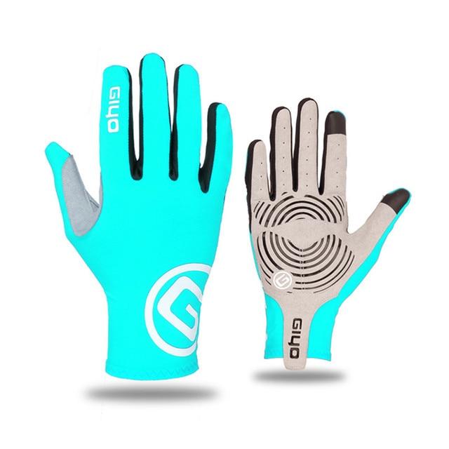 Giyo tela sensível ao toque longo dedos completos gel luvas de ciclismo esportes mtb bicicleta de estrada equitação luvas de corrida 4