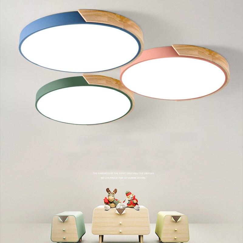 Светодиодный потолочный светильник, ультратонкая современная люстра в скандинавском стиле с регулируемой яркостью, деревянное освещение ...