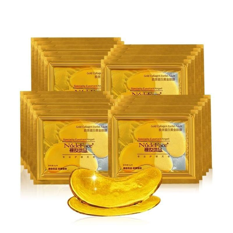 24k Gold Collagen Eyelid Patches Mask Crystal Eye Patch Colageno Gel Eye Pads Anti-puffiness Dark Circle Remover Eye Skin Care