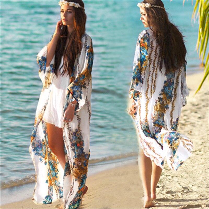 Hot Selling Europe And America Chiffon Printed Loose-Fit Cardigan Beach Skirt Seaside Holiday Skirt Bikini Cover-up Sun Shirt