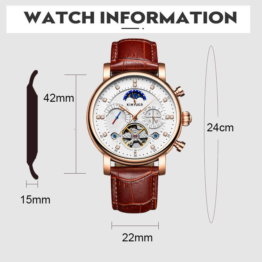 KINYUEDอัตโนมัตินาฬิกาMoon Tourbillonนาฬิกาแบรนด์หรูSkeletonนาฬิกาข้อมือHeren Horloge 2020